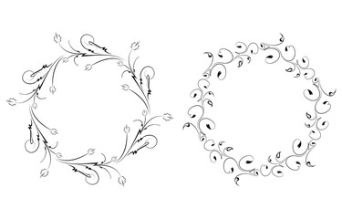 Pair of round vintage floral frames for your design. Vector illu