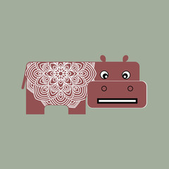African animals. Little cheerful hippo toy. Stylized vector illustration.