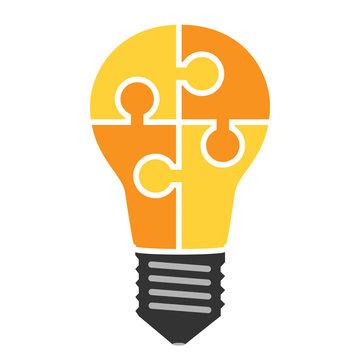 Lightbulb of puzzle pieces