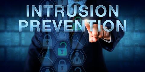 Network Administrator Pressing INTRUSION PREVENTION