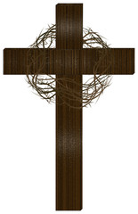Wooden cross with a crown of thorns. Lent season, Passion of Christ, Holy Week or Easter illustration.
