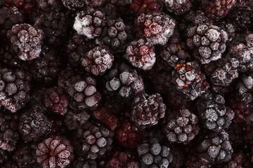 Frozen Blackberry fruits, food background
