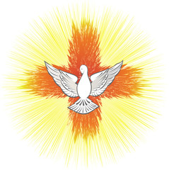 Holy Spirit symbol, dove with halo and light rays in a shape of a cross