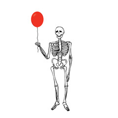 Joyful skeleton that keeps the balloon.