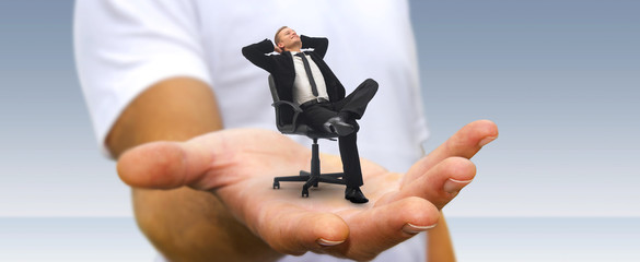 Man relaxing on his chair at the office