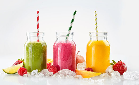 Row of fruit drinks on ice