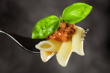 Fresh cooked pasta on fork with bolognese sauce and green basil
