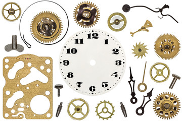 Spare parts for clock. Metal gears, cogwheels, clock face and ot