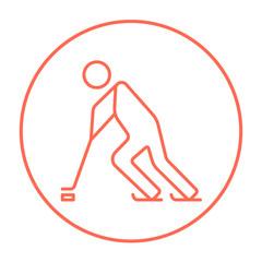 Hockey player line icon.