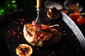 pork steak autenic farm cooked on grill
