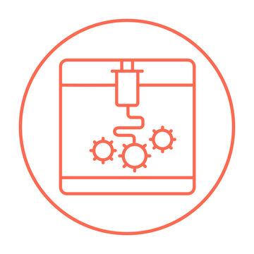 Tree D printing line icon