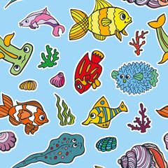 Cartoon Funny Fish, Sea Life seamless pattern.Doodle set