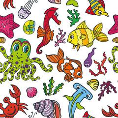 Cartoon Funny Fish, Sea Life seamless pattern.Doodle