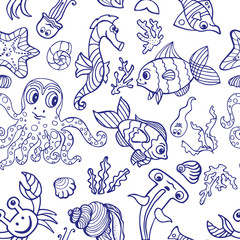 Cartoon Funny Fish, Sea Life seamless pattern.Linear