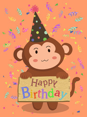 A monkey with cone hat holding birthday greeting board in red confetti background.