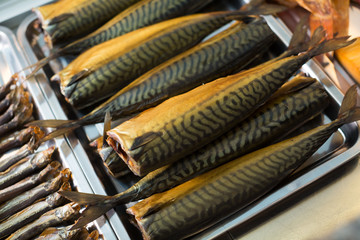 Cured mackerel and other fish in supermarket