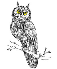 Vintage hand drawn doodle decorative eagle owl. sketch for adult antistress coloring page, tattoo, poster, print, t-shirt, invitation, cards, banners, flyers, calendars