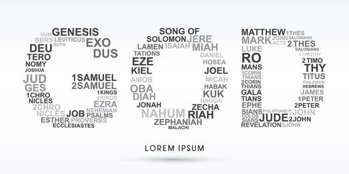 GOD, designed using bible words genesis to revelation graphic vector.