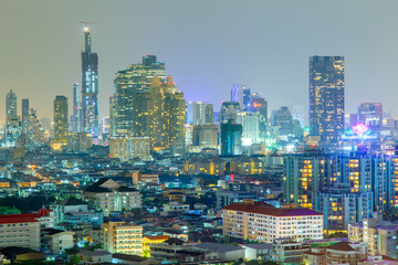 Bangkok Cityscape, Business district with high building at night time, Bangkok, Thailand