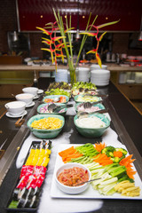 various food on line buffet in restaurant