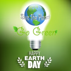 Earth day background idea concept lamp and world on green background