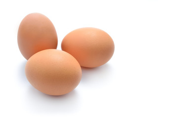Close up of eggs isolated on white background