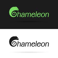 Vector design chameleon is text