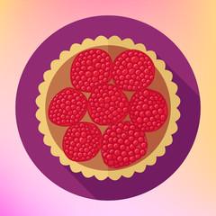 Raspberry cupcake dessert top view flat vector icon. Fruit cake flat illustration. Cupcake flat vector pictogram. Raspberry cake icon. Colorful dessert flat icon.