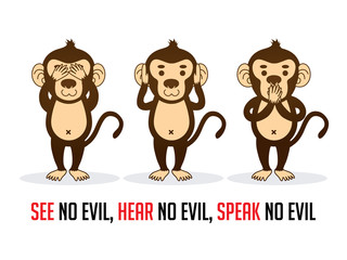 Three monkeys. SEE no evil, HEAR no evil, SPEAK no evil graphic vector.