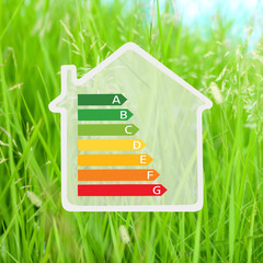 House with energy efficiency scale image on green grass background