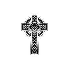 Simple black celtic cross with details