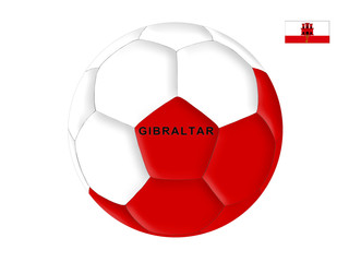 Soccer ball in the colors of the flag of Gibraltar