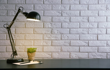 Lamp and plants on the desk on wall background