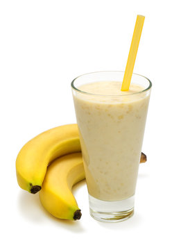 banana milk smoothie on white background