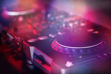 DJ mixer closeup