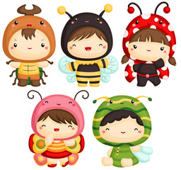 Boys and Girls in Insect Cute Costume