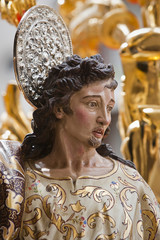 Archangel sculpted in polychromatic cedar wood, art of baroque s