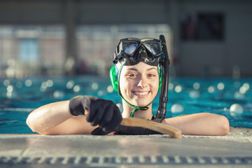 Young underwater hockey player portrait