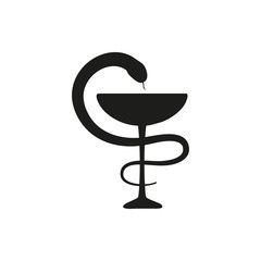 Pharmacy or medical snake Icon. simple black style