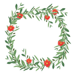 Watercolor olive wreath with red flower.