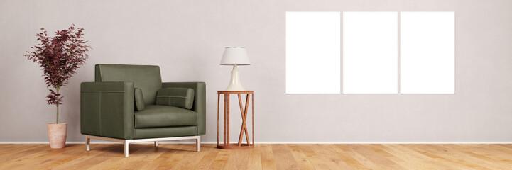 Leinwand Triptychon an Wand im Wohnzimmer