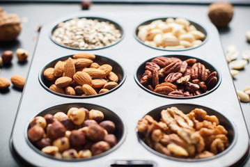 Assortment Nuts Peanut Almond Walnut Hazel