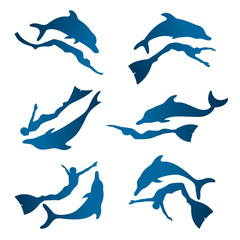 Collection of silhouette free diver and dolphin.