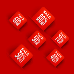 Red Sale tags.Sale discount origami for website