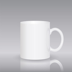 Template ceramic clean white mug isolated on a grey background. Empty blank for coffee or tea. photorealistic white cup.