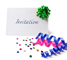 Invitation card with bow and confetti, isolated on White