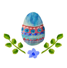 Colorful watercolor Easter egg, green leaves and little blue flower