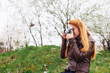 Young hipster photographer
