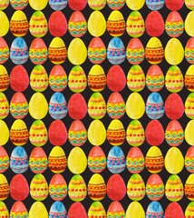 Seamless pattern with colorful watercolor Easter Eggs on black background