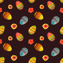 Seamless pattern with colorful watercolor Easter eggs and flowers on black background